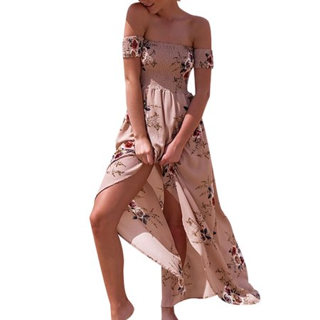 1b4ae62e04 Sexy Dance - Women Off Shoulder Dress Ladies Floral Printed Beach Party  Evening Sundress Front Slit Long Maxi Dress - Walmart.com