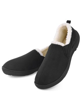 Dasein Men's Moccasin Slippers House Shoes Clogs Micro Suede Memory Foam Wool-Like Plush Fleece Lined Anti-Skid