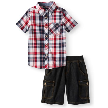 Boys Dressing Up Outfit (Phat Farm Short Sleeve Plaid Button Up Top with Twill Short, 2-Piece Set (Little)