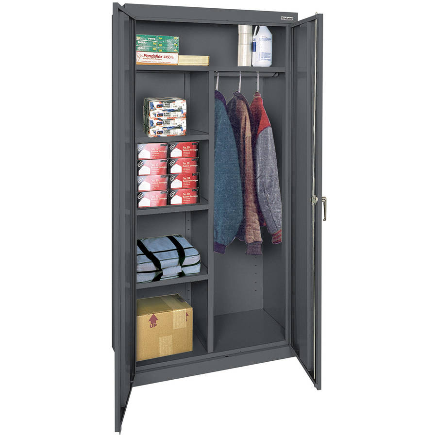 "Classic Series 36""W x 72""H x 18""D Combination Storage Cabinet with Adjustable Shelves, Charcoal"