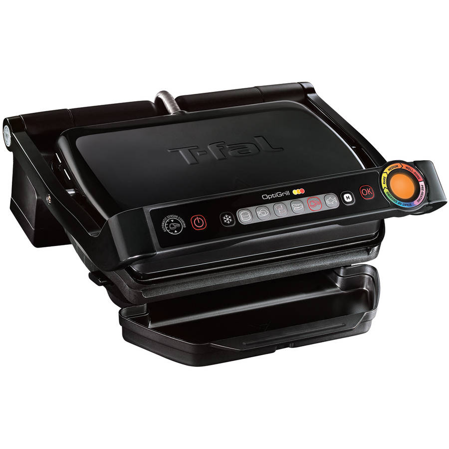 T-Fal Opti Grill Indoor Electric Grill with Removable Plates, Black