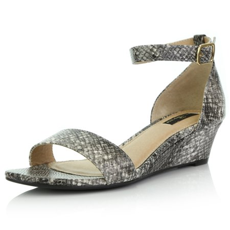DailyShoes Wedge Heeled for Women with Ankle Strap Low Wedges Sandal Open Toe Heel Sandals Summer Casual Toed Strappy Whitney-01 Black White Snake Pu Pump Medium Heel Ankle Strap
