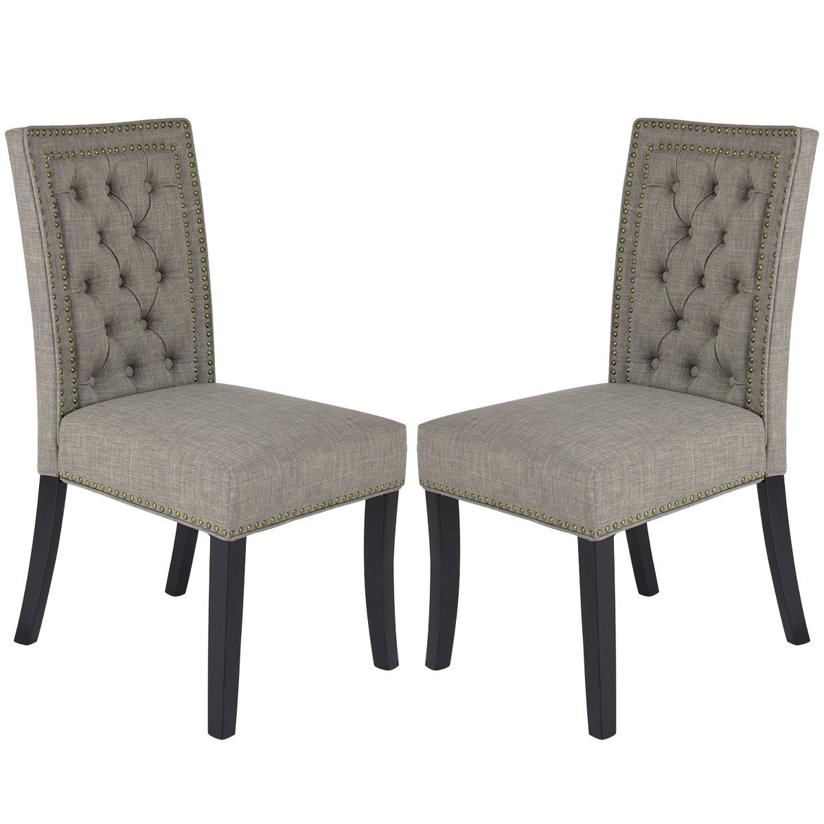 Costway Set Of 2 Fabric Dining Chairs With Rubber Wood Legs Home Kitchen  Furniture Brown