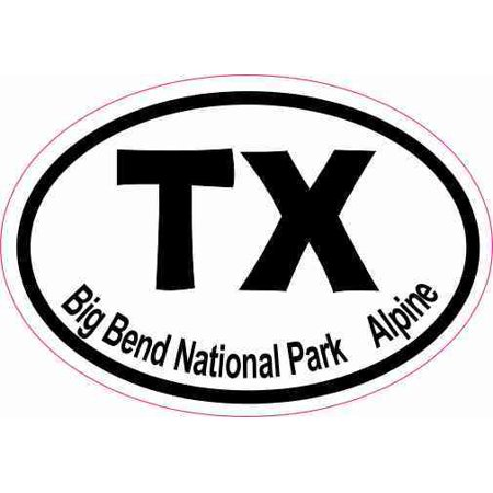 - 3 x 2 Oval TX Big Bend National Park Alpine Sticker Luggage Decal Stickers
