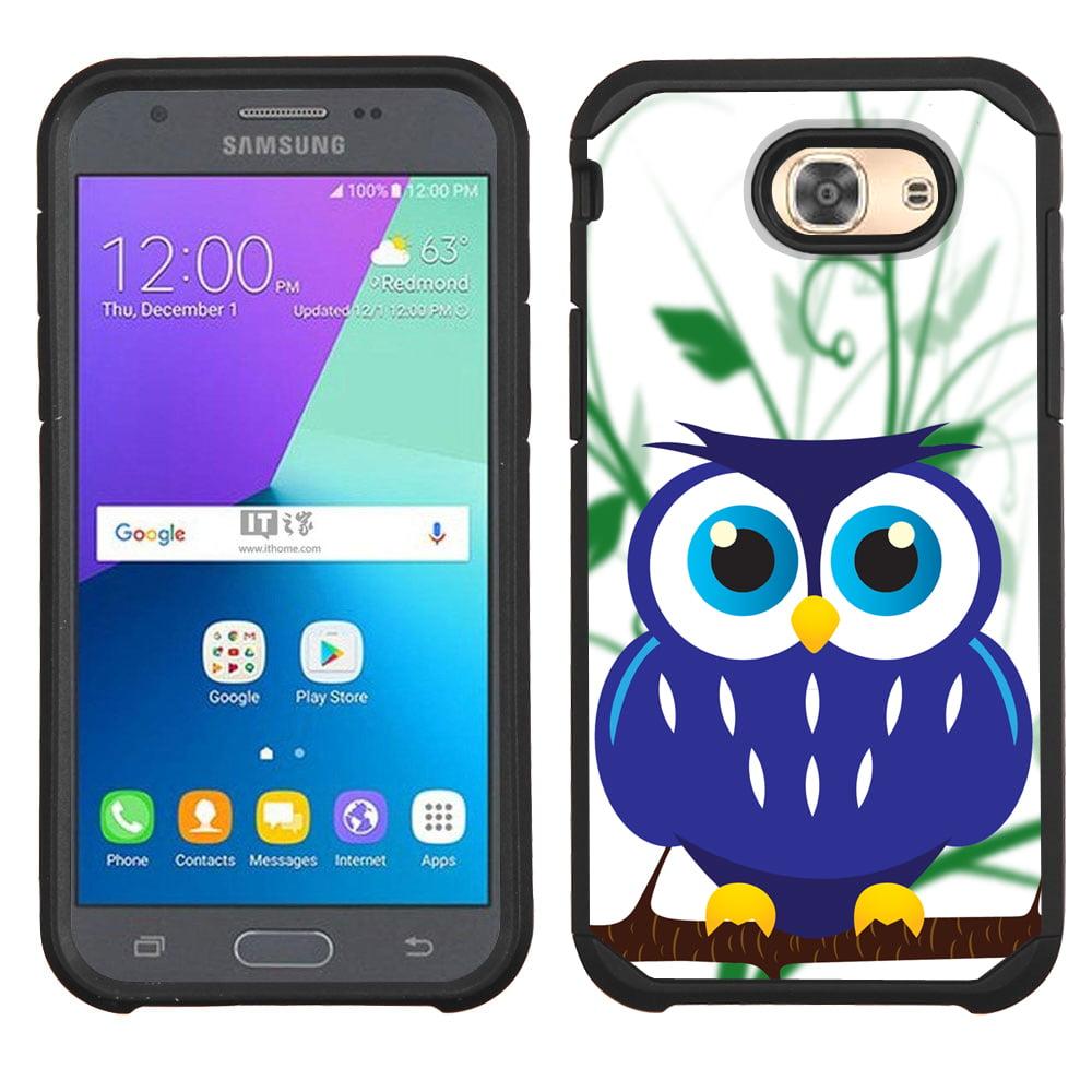 Hybrid Case for Samsung Galaxy J3 Luna Pro 4G LTE / J3 Eclipse, OneToughShield ® Dual Layer Shock Absorbing Phone Case (Black) - Blue Owl