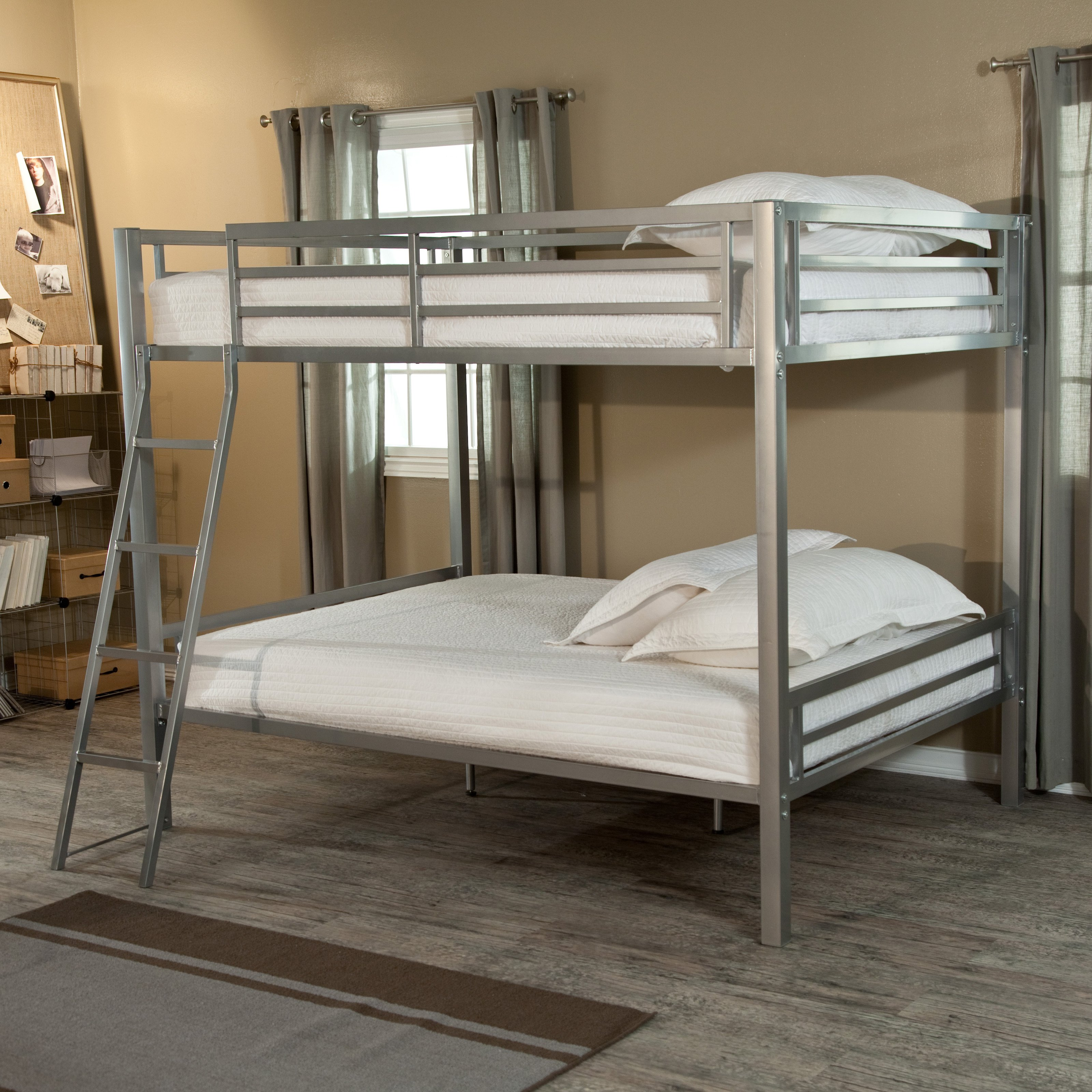 Duro Hanley Full over Full Bunk Bed Silver by