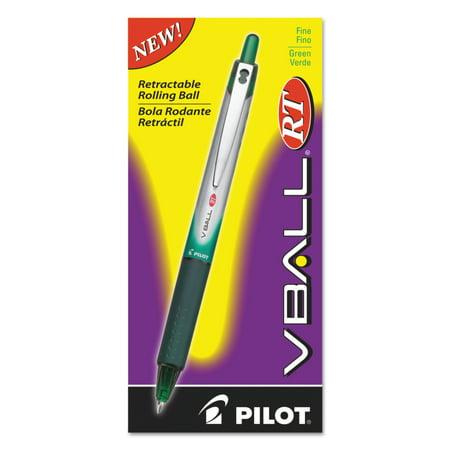 Pilot VBall RT Liquid Ink Retractable Roller Ball Pen, Green Ink, .7mm, Dozen](Glow In The Dark Pen)