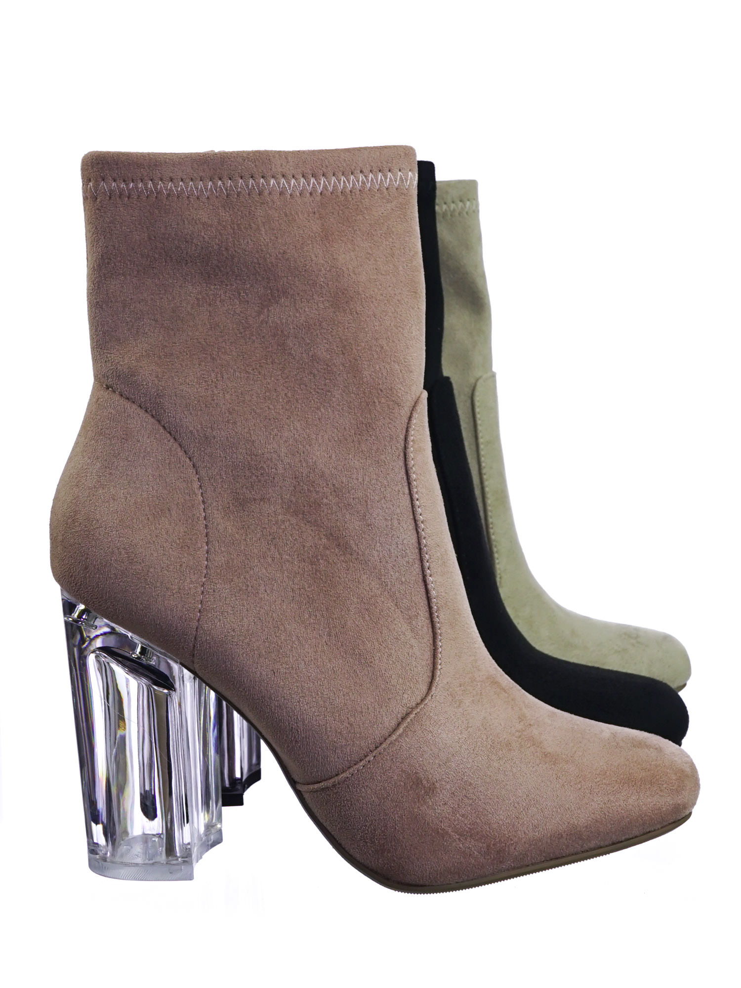 Linya by Speed Limit 98, Lucite Clear Chunky Block High Heel Dress Boots, Transparent