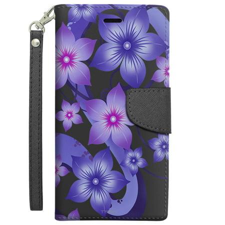 (Apple iPhone 6 Plus Wallet Case - Purple Dahlia Flowers on Black)