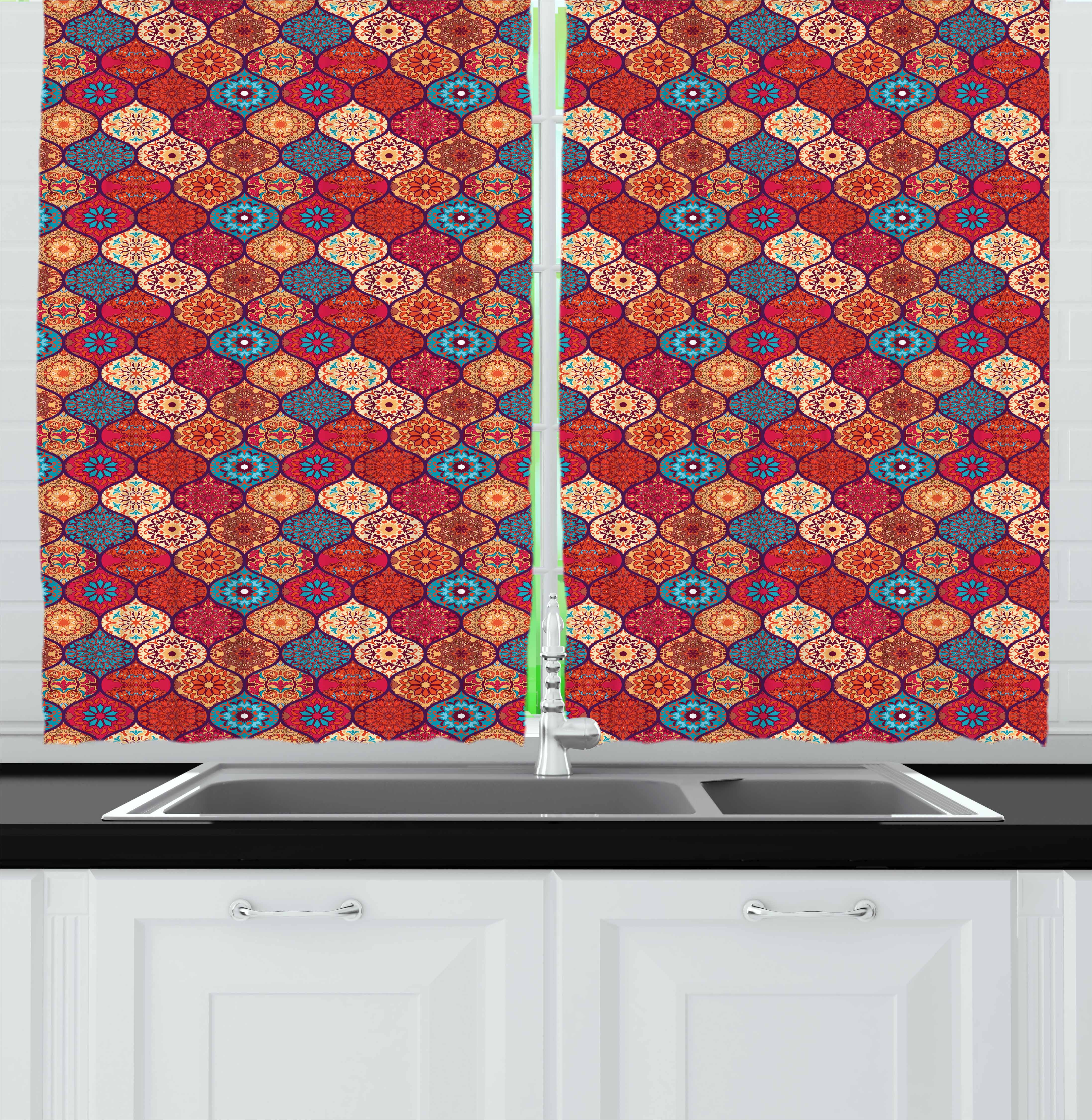 Enjoyable Moroccan Curtains 2 Panels Set Oriental Wavy Curvy Pattern With Spring Nature Inspired Retro Style Art Motifs Window Drapes For Living Room Bedroom Interior Design Ideas Clesiryabchikinfo