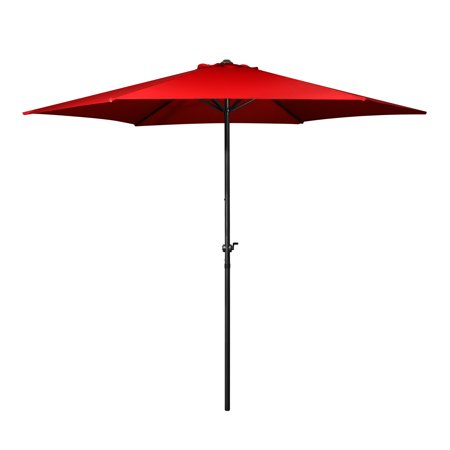 Patio Umbrella 10 Feet - Portable Aluminum Outdoor Table Desk Umbrella Furniture with Hexagon Shape Polyester Cover 6 Steel Ribs Wind Vent for Market Beach Garden Backyard Pool Sunshine (Red) ()