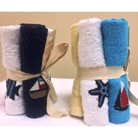 Kaufman -2 Pack of 5 Terry Wash Cloth with Monogram Towels.Total 10 Towels