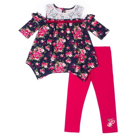 Floral Outfit Girl - Cold Shoulder Yummy Knit Floral Blouse & Leggings, 2-Piece Outfit Set (Toddler Girls)