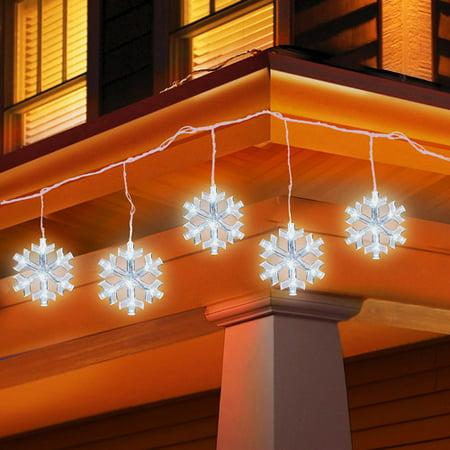 Holiday time 5 count led snowflake icicle string christmas lights for Walmart exterior christmas lights