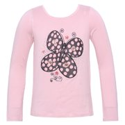 Little Girls Pink Butterfly Applique Long Sleeved Shirt 4