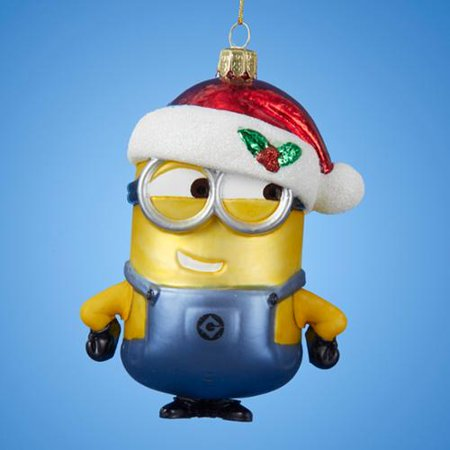 pack of 6 despicable me glass minion with christmas hat ornaments 5 - Minion Christmas Ornament