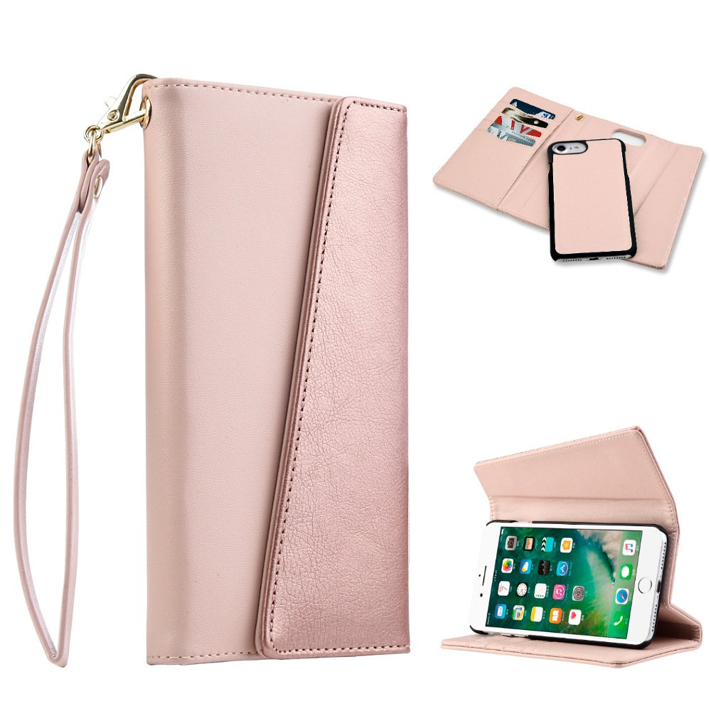 iPhone 7 Wallet Case [Folio Style] [Stand] Premium iPhone 7 Flip Case Protective Leather Cover with Card Slot + Detachable Magnetic Snap on Case - Rose Gold, 4 Card Slot, Money Pocket, Wristlet