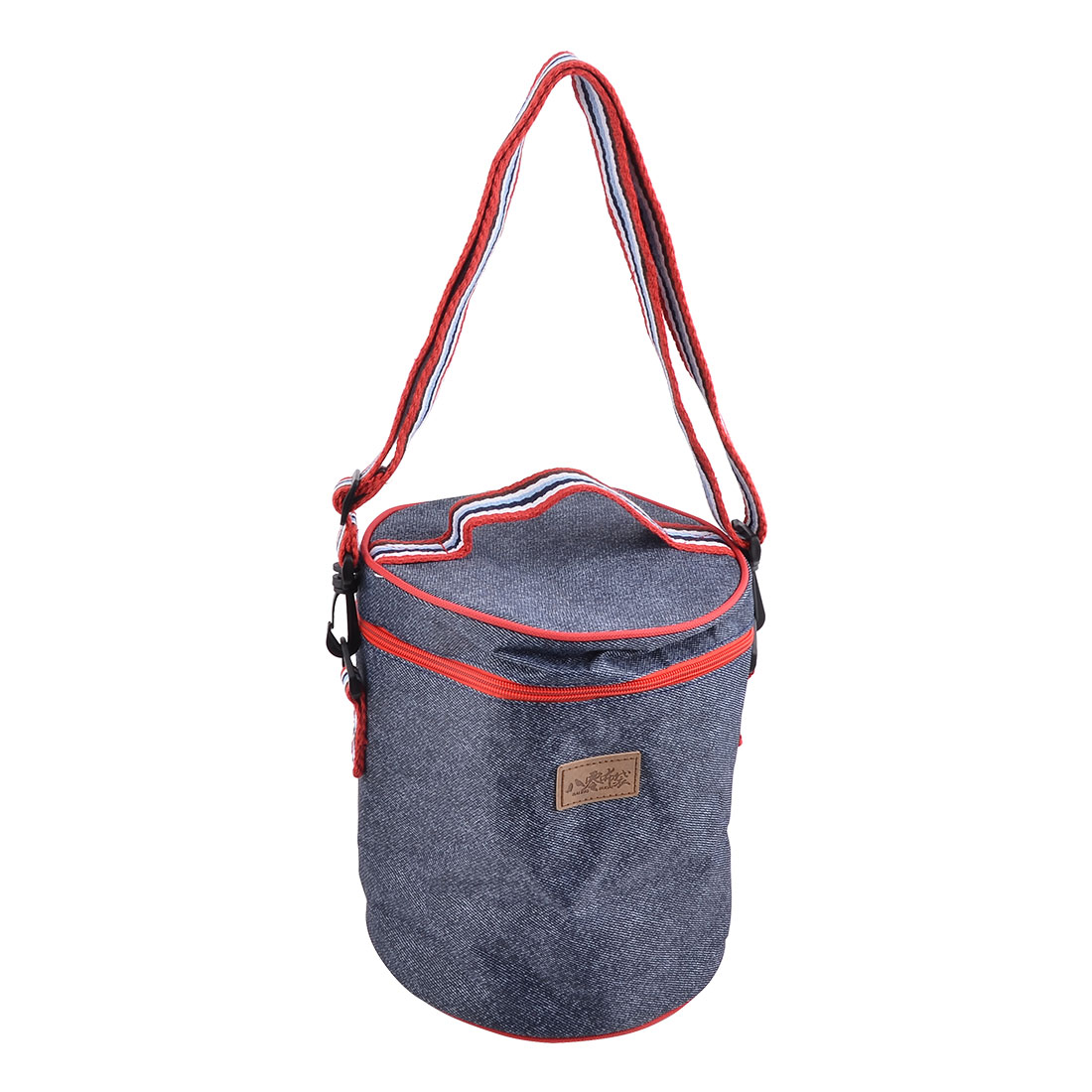 Outside Oxford Fabric Zipper Closure Insulated Drinking Cooler Bag Dark Blue