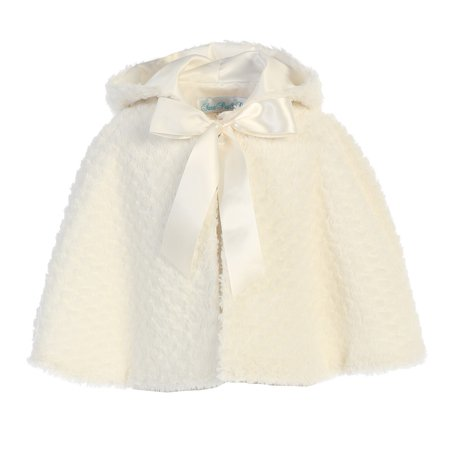 Lito Little Girls Ivory Ribbon Accent Hooded Swirl Texture Faux Fur Cape - Faux Fur Trim Hooded Cape