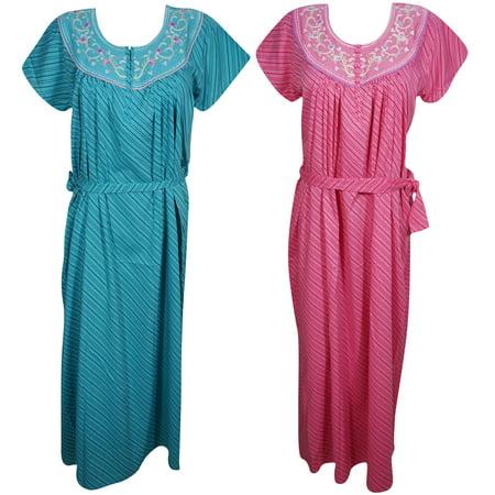 a016f62310 Mogul Interior - Mogul Lot Of 2 Womens Blue Pink Maxi Caftan Floral  Embroidered On Neck Short Sleeves Evening Dress Summer Comfy Kaftan L -  Walmart.com