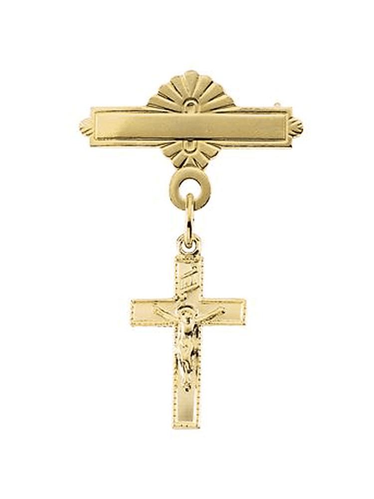 14K Yellow Gold Crucifix Baptism Pin Brooch by