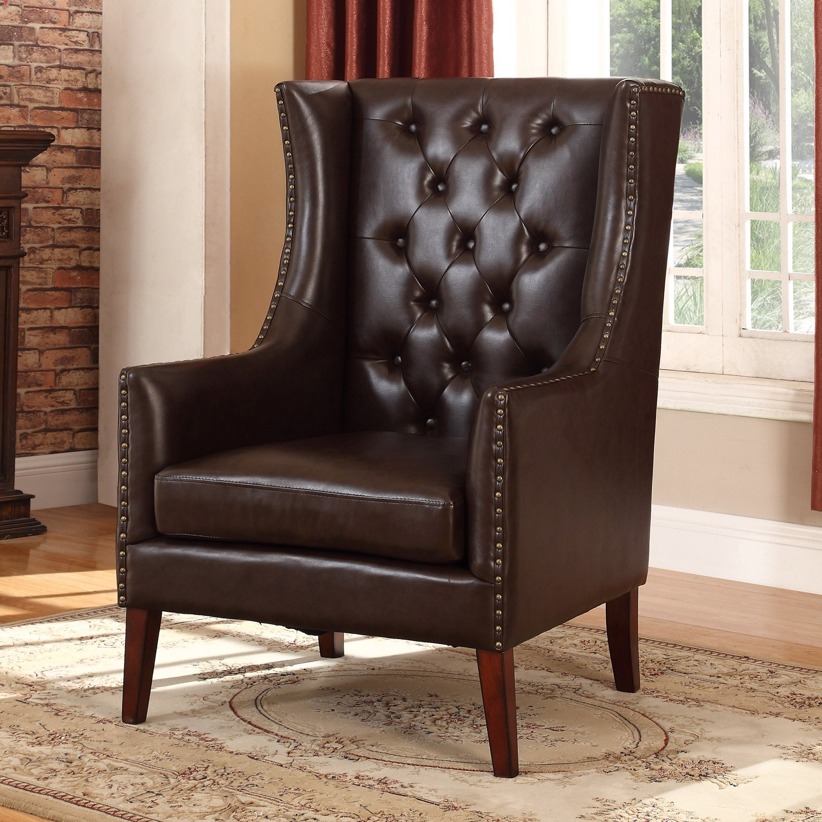 Best Master Furniture Traditional Faux Leather Executive Wingback Chair