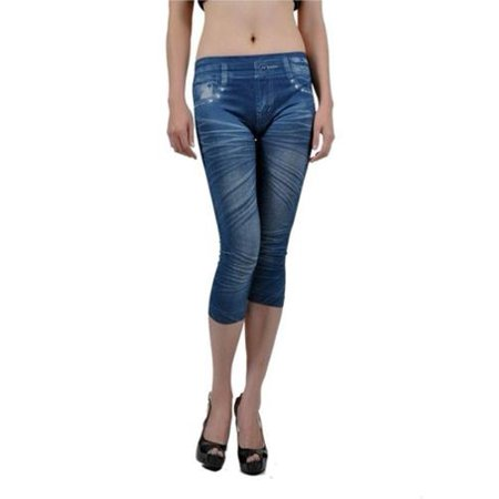 a9644aa1f2269b Insten - Women's Printed Jean Capri Leggings Jeggings One Size - Blue -  Walmart.com