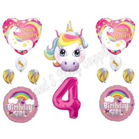 4th RAINBOW UNICORN Happy Birthday Party Balloons Decoration Pink Purple Girl