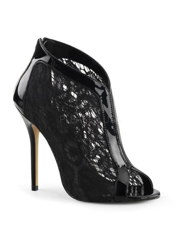 """AMU48/B-LC Fabulicious Shoes 5"""" Amuse Blk Pat-Lace Size: 5"""
