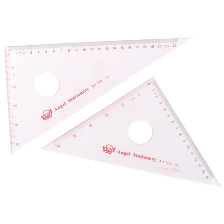 Unique BargainsStudent Plastic Draft Drawing Right Angle Triangle Ruler Combo Protractor 2 in 1