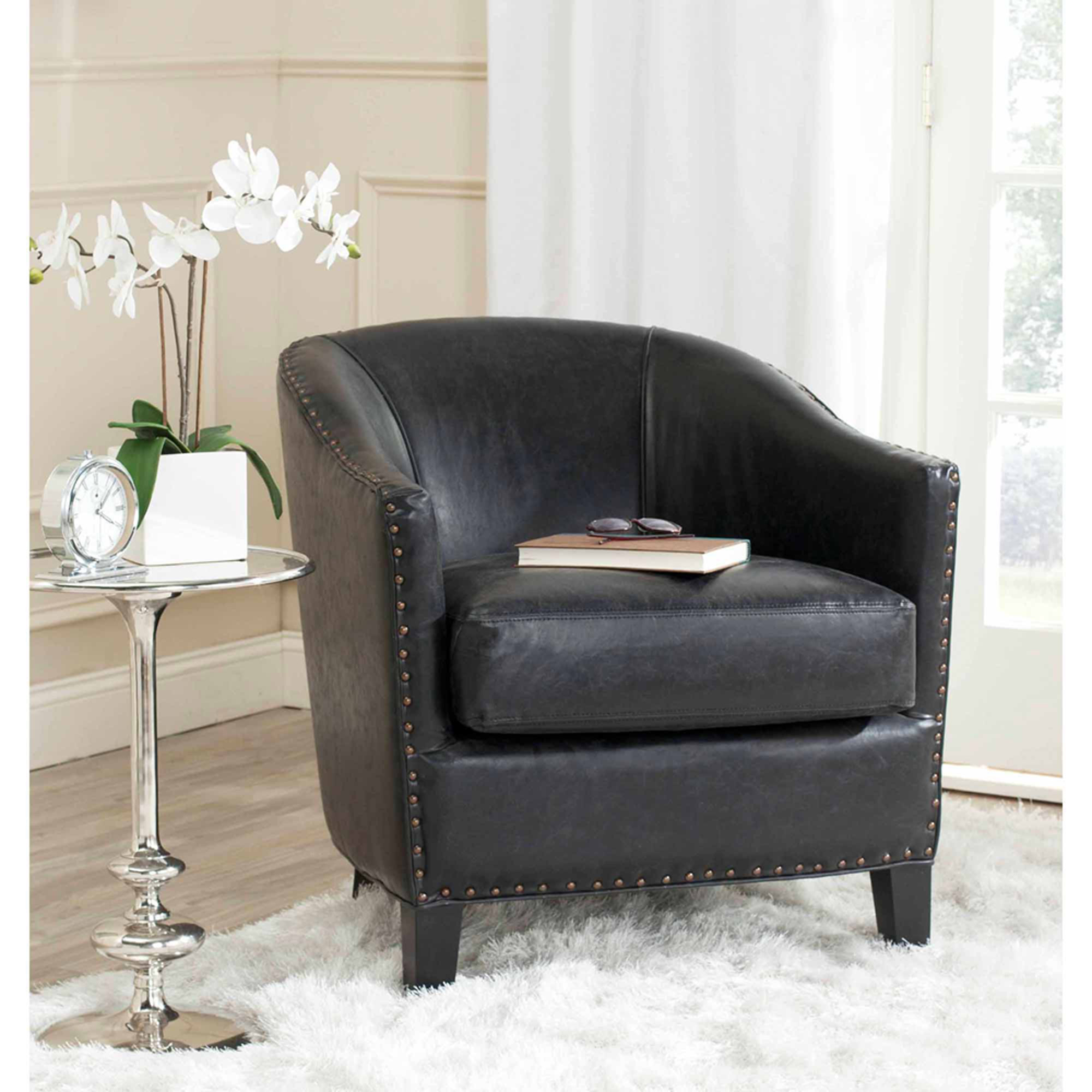 Safavieh Evander Bicast Leather Club Chair, Antique Black with Brass Nail Heads