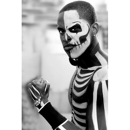 Face Art Halloween Man (LAMINATED POSTER Scary Halloween Skeleton Face Painting Male Model Poster Print 24 x)