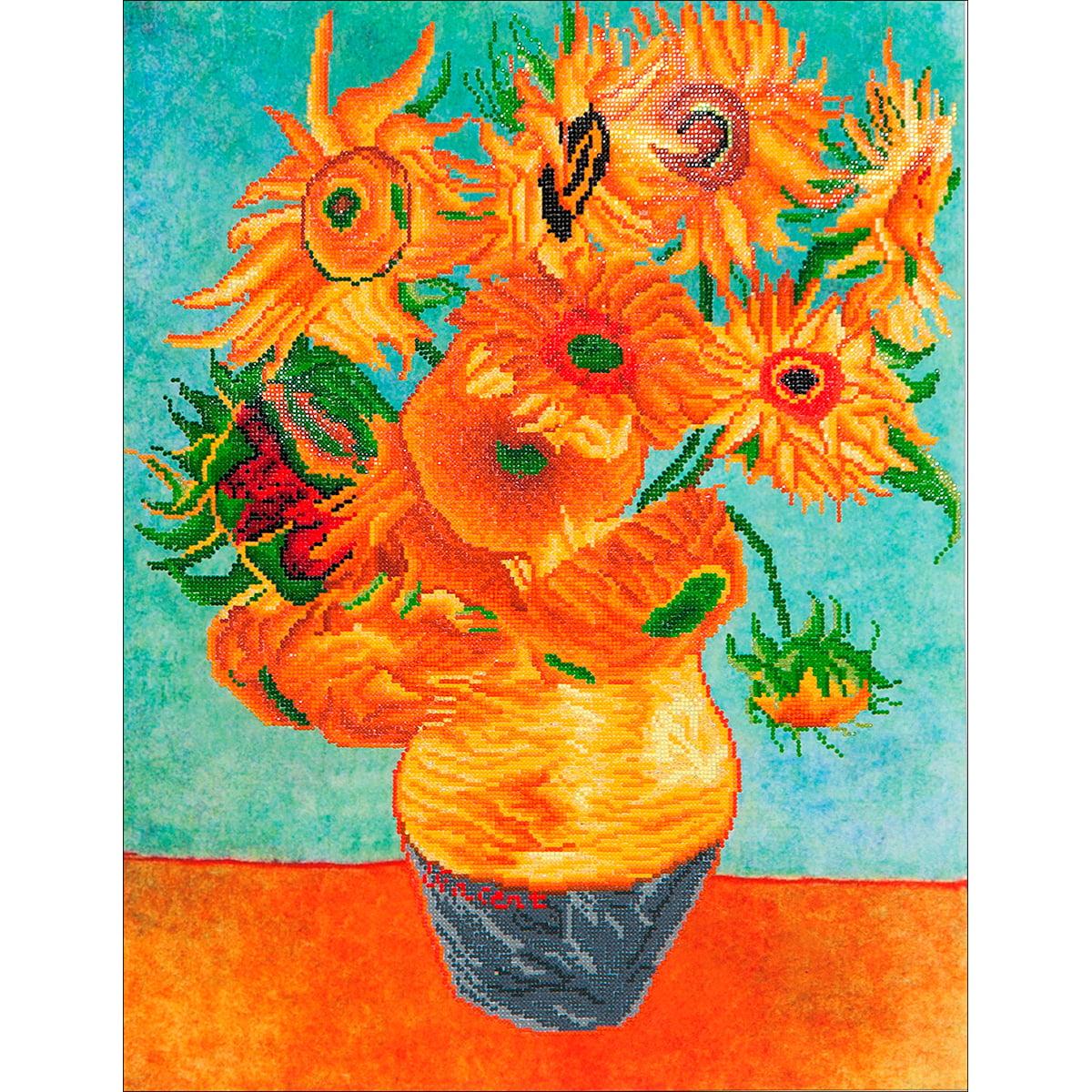 "Diamond Dotz Diamond Embroidery Facet Art Kit, 63"" x 29.5"", Sunflowers (Van Gogh)"