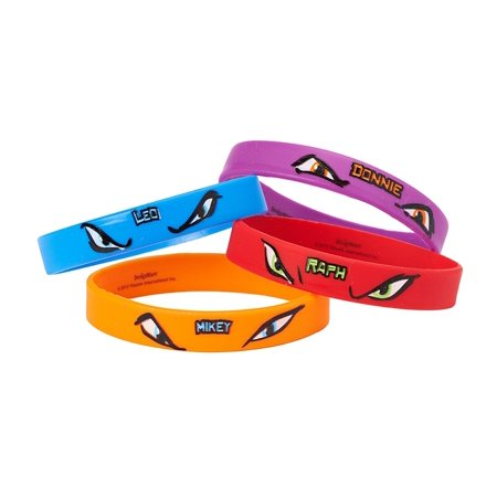 Teenage Mutant Ninja Turtles Party Favor Rubber Bracelets, 4ct - Ninja Turtles Favors