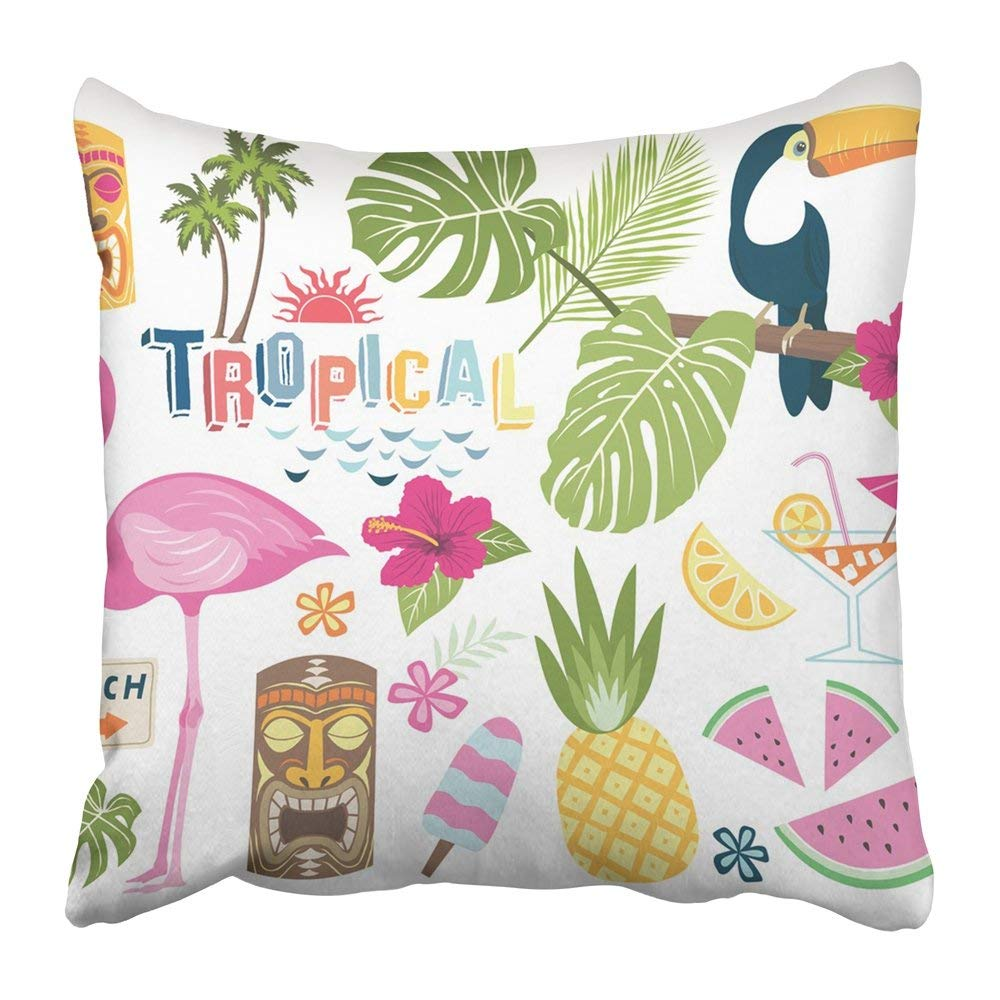 WOPOP Hawaii Tropical Collection Party Flamingo Drink Graphic Pineapple Aloha Bird Pillowcase Pillow Cover 18x18 inches