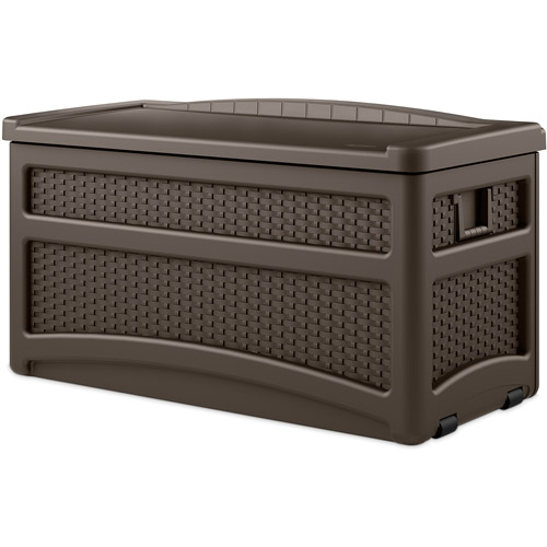 Suncast 73 Gallon Java Resin Wicker Storage Seat Deck Box with Wheels DBW7500
