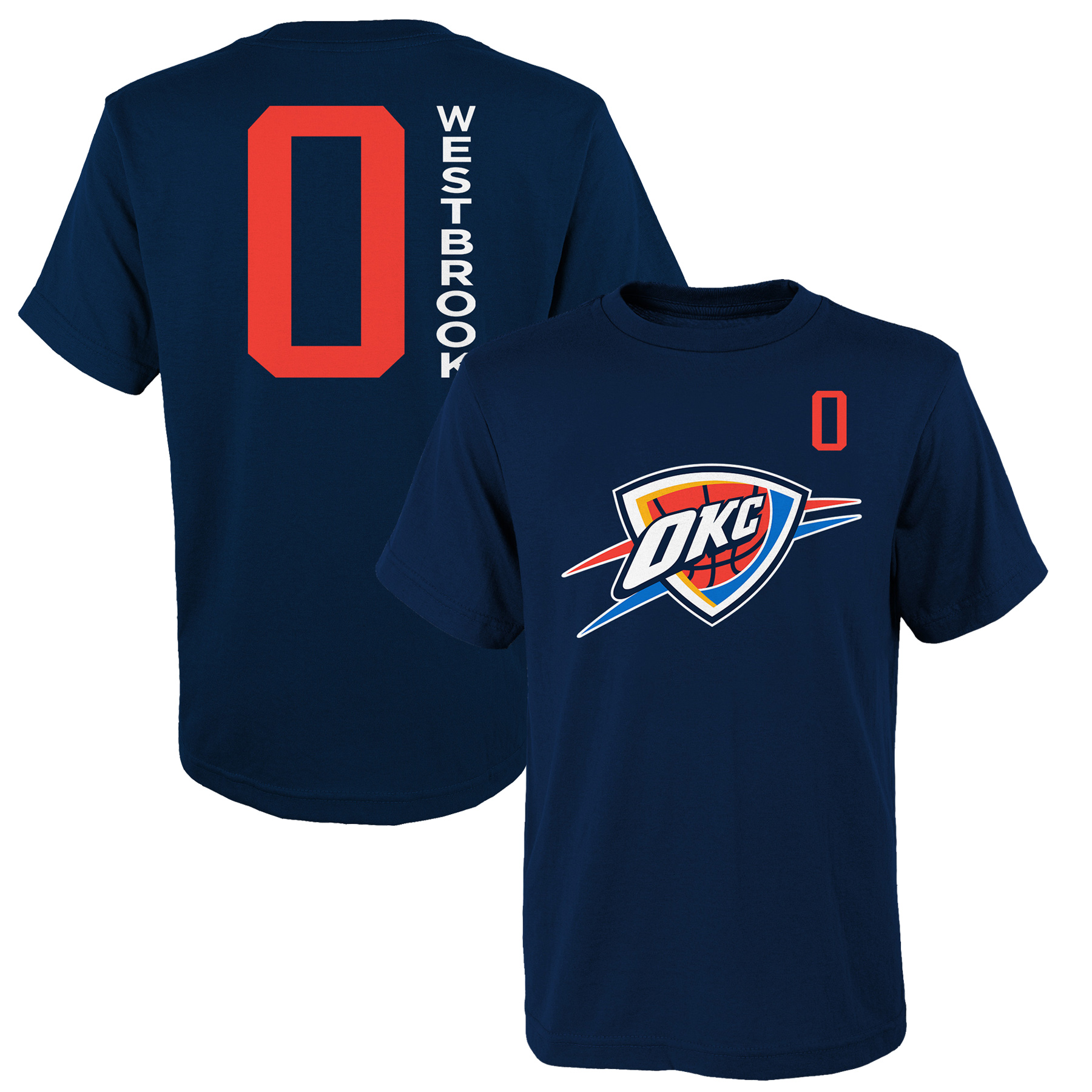 Youth Russell Westbrook Navy Oklahoma City Thunder Name & Number T-Shirt