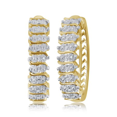 Elegant 0.02 Carat Natural Diamond Accent Hoop Earrings In 14K Yellow Gold Plated