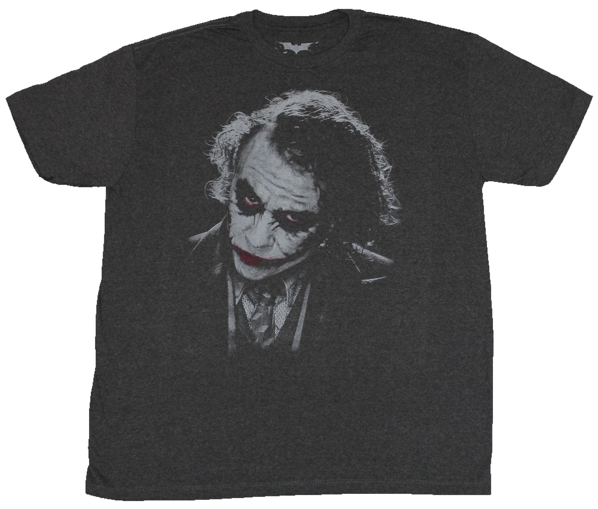 Batman Dc Comics Mens T Shirt Heath Ledger Joker Face Red Lips Red Eyes