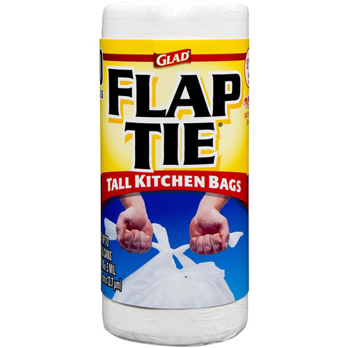 Glad Tall Kitchen Flap-Tie Trash Bags, 13 Gallon, 40 Count
