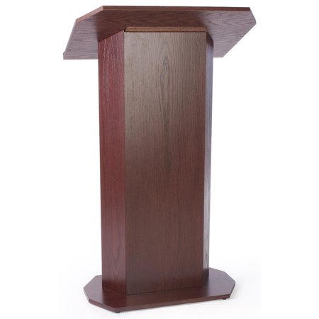 Displays2go 49-inch-tall Floor-Standing Lectern Podium with Knockdown Design for Mobility -  Laminate