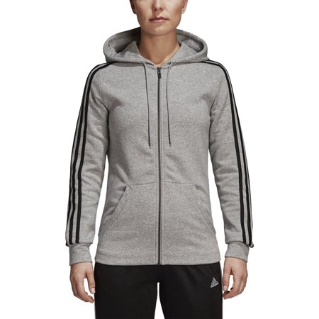 adidas Women's Essentials Cotton Fleece 3-Stripe Full Zip Hoodie |