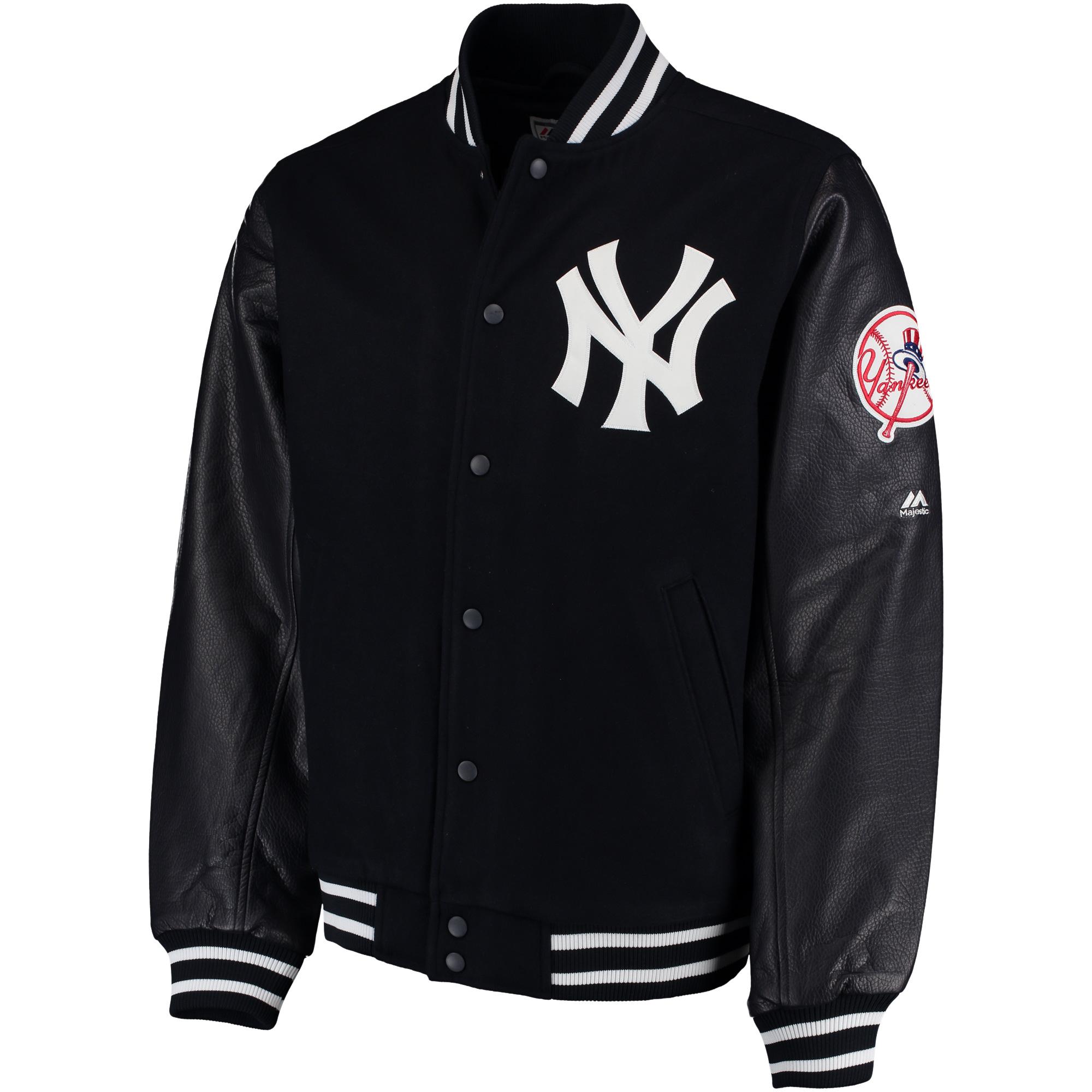 New York Yankees Majestic On-Field Varsity Jacket - Navy