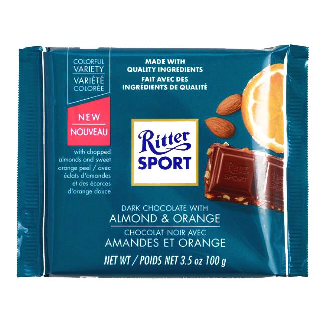 Ritter Sport Dark Almond And Orange Chocolate Bar 7 05 Oz Each 4 Items Per Order Not Per Case Walmart Com Walmart Com