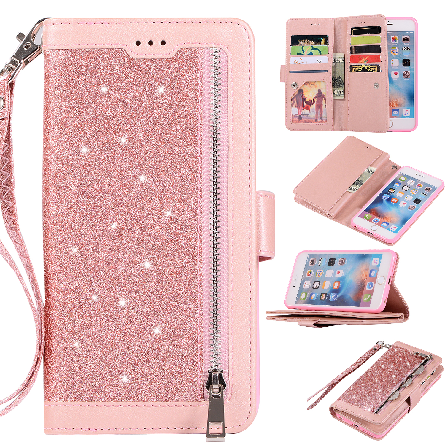 premium selection 9efab 458b1 Zipper Wallet Case for iPhone 6S iPhone 6 4.7-inch, Allytech Bling Glitter  Leather Case with 9 Credit Card Holder Flip Magnetic Closure Stand Cover ...