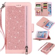 Zipper Wallet Case for iPhone 6S iPhone 6 4.7-inch, Allytech Bling Glitter Leather Case with 9 Credit Card Holder Flip Magnetic Closure Stand Cover with Cash Pocket and Hand Strap, Pink