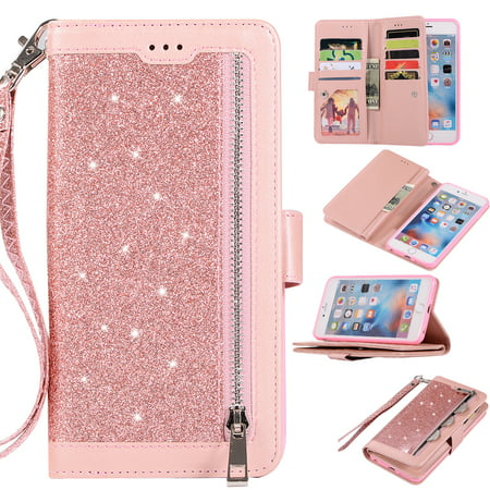 premium selection 720b7 1fd7a Zipper Wallet Case for iPhone 6S iPhone 6 4.7-inch, Allytech Bling Glitter  Leather Case with 9 Credit Card Holder Flip Magnetic Closure Stand Cover ...