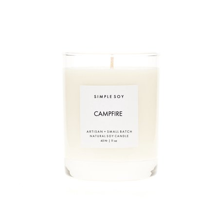 Simple Soy Natural Scented Soy Candle, Campfire in Rock Glass, 11 oz