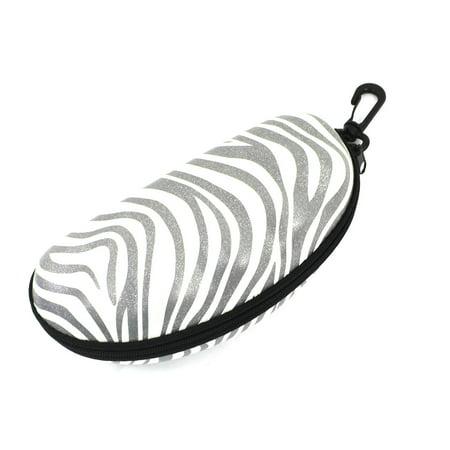 Oval Shaped Zebra Stripes Zipper Sunglasses Case Box Holder w Plastic (Oval Shaped Head Men)