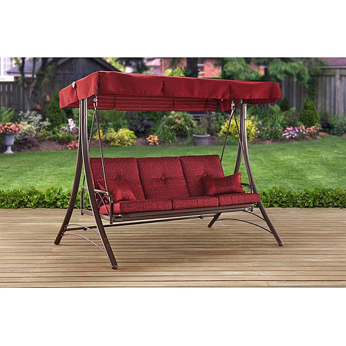 Mainstays Callimont Park 3-Seat Canopy Porch Swing Bed Red  sc 1 st  Walmart : swing bed with canopy - memphite.com